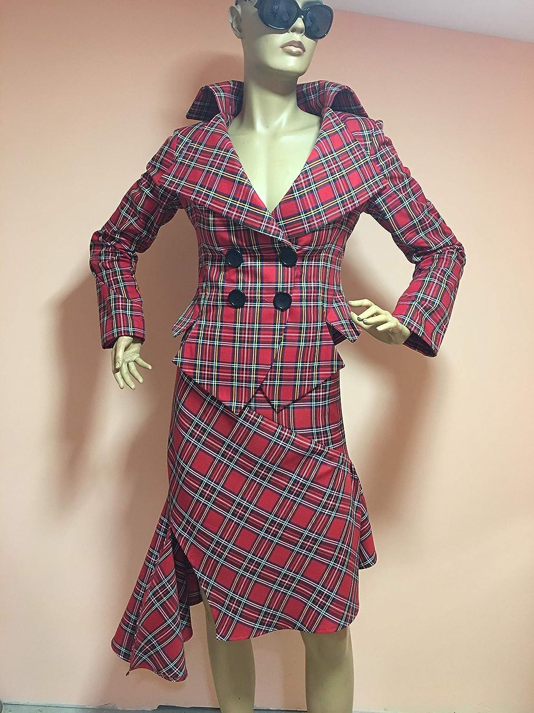 ec1350559e4200 Amazon.com: Plaid suit, jacket blazer, Tartan suit,Steampunk Gothic Punk  Grunge Suit for Women, Red Royal Stewart Scottish Tartan, Plaid Kilt  Costume: ...