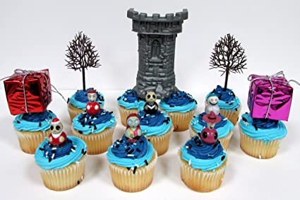 Christmas Birthday Cake.Party Favors Nightmare Before Christmas Birthday Cupcake Topper Set