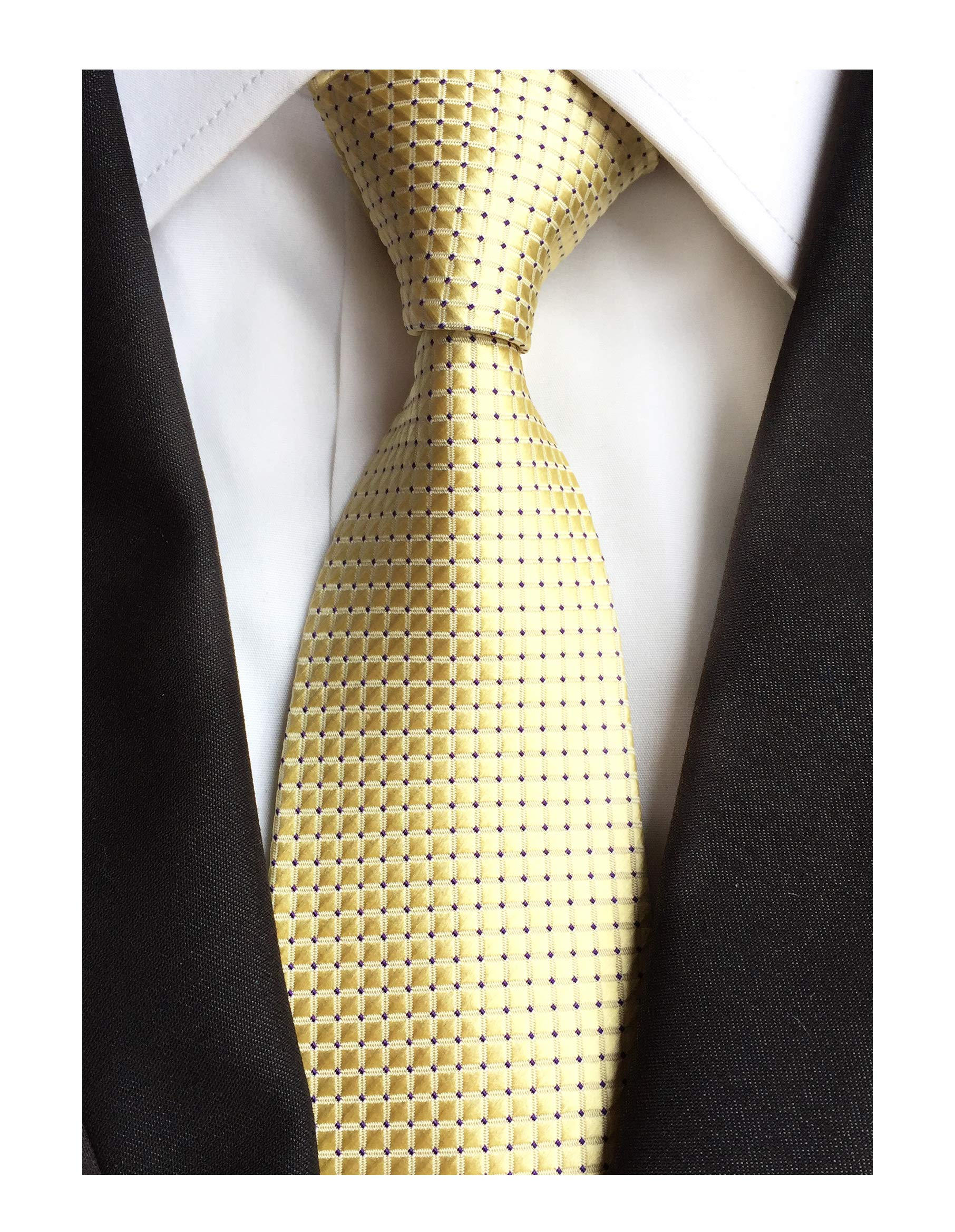 Men's Classic Yellow Jacquard Ties Spring Summer Easy-matching Wedding Neckties