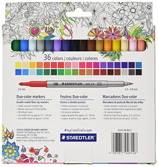 amazoncom staedtler duo color markers 320c36jblu 36 pc office products