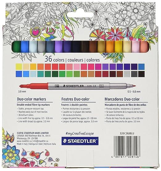 Amazon.com : Staedtler Duo color Markers (320C36JBLU) 36 pc ...