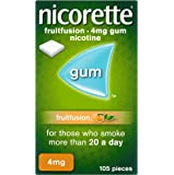 Nicorette Fruit Fusion Stop Smoking Aid Chewing Gum, 4 mg
