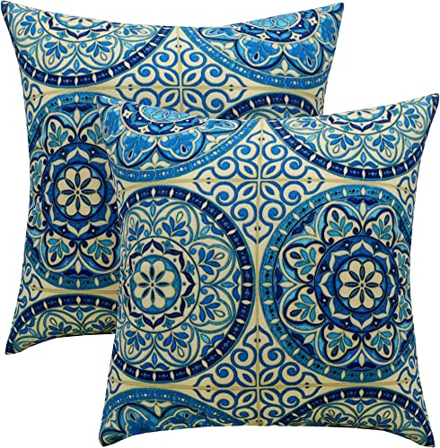 Resort Spa Home Decor Set of 2 – Indoor Outdoor Square Decorative Throw Toss Pillows – Wheel Indigo Blue Ivory Large Sundial Fabric – Choose Size 24