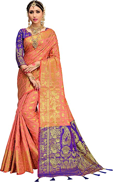 50d8c0c32f4a84 HEART N SOUL Indian Bollywood Sarees Women Patola Silk Woven Saree l  Tradional Wedding Wear Sari Unstitched Blouse  Amazon.co.uk  Clothing