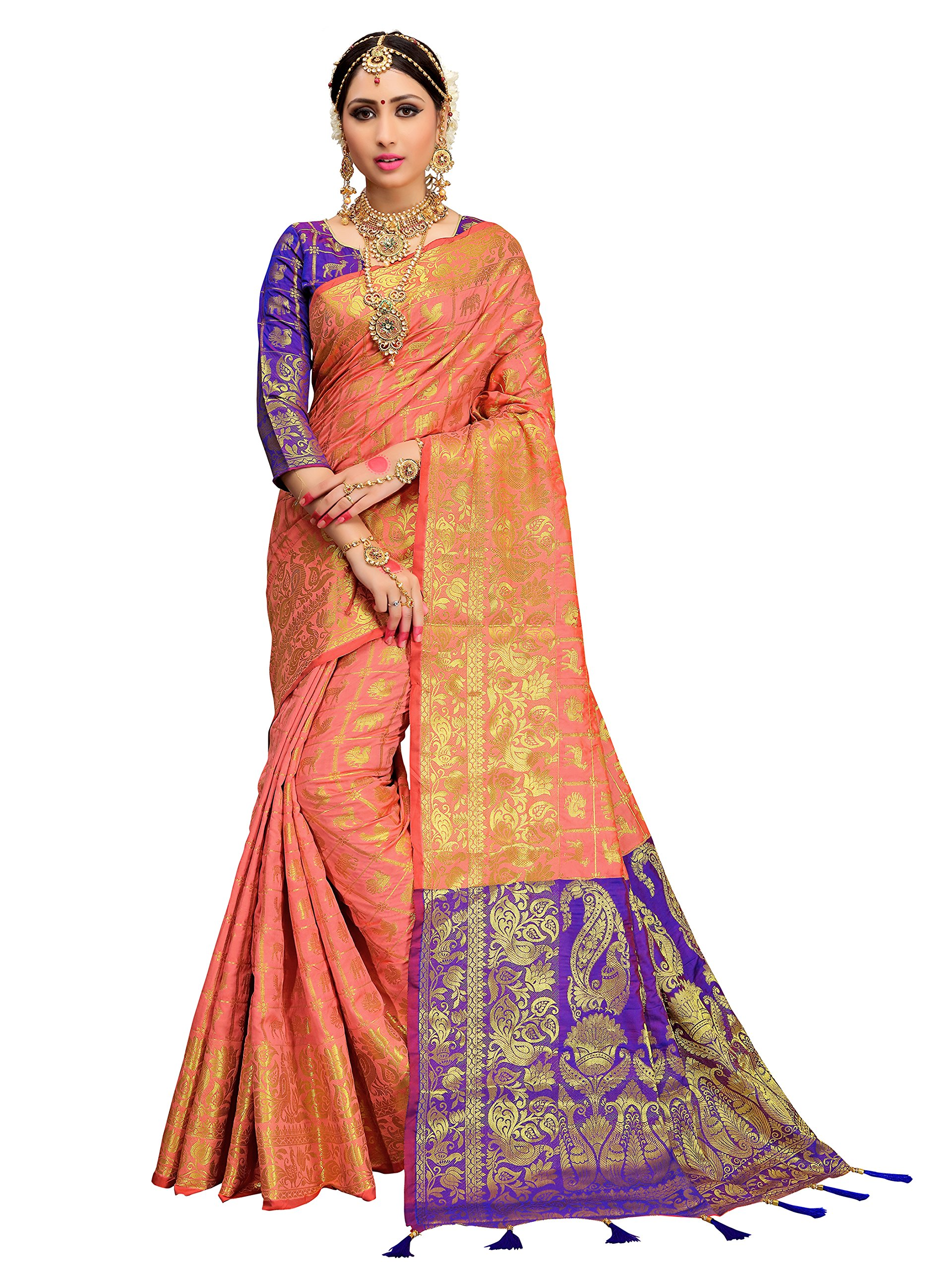 ELINA FASHION Sarees for Women Patola Art Silk Woven Work Saree l Indian Bollywood Wedding Ethnic Sari with Blouse Piece (Coral)