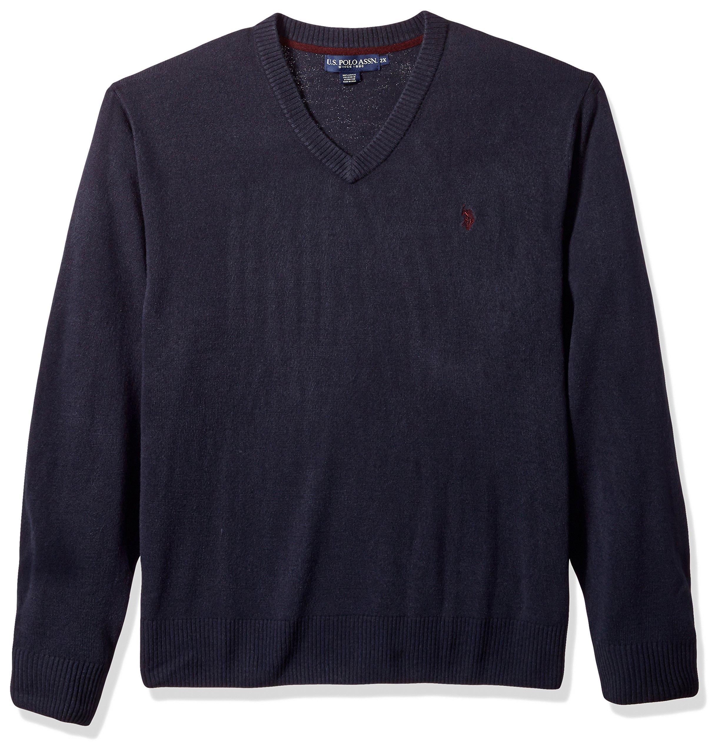 U.S. Polo Assn. Men's Tall Solid V-Neck Sweater, Navy, 2X Big
