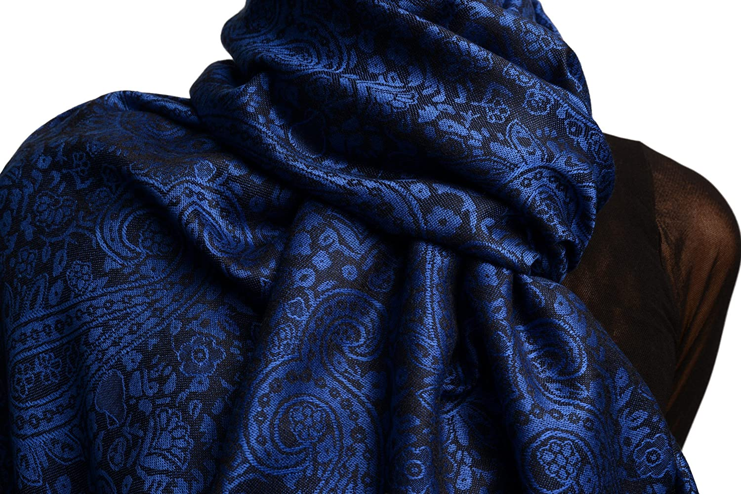 Medium Blue & Black Paisleys Pashmina Feel With Tassels - Scarf