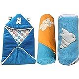 My NewBorn Velvet And Fleece Hooded Blankets - Set Of 3 - Sky Blue