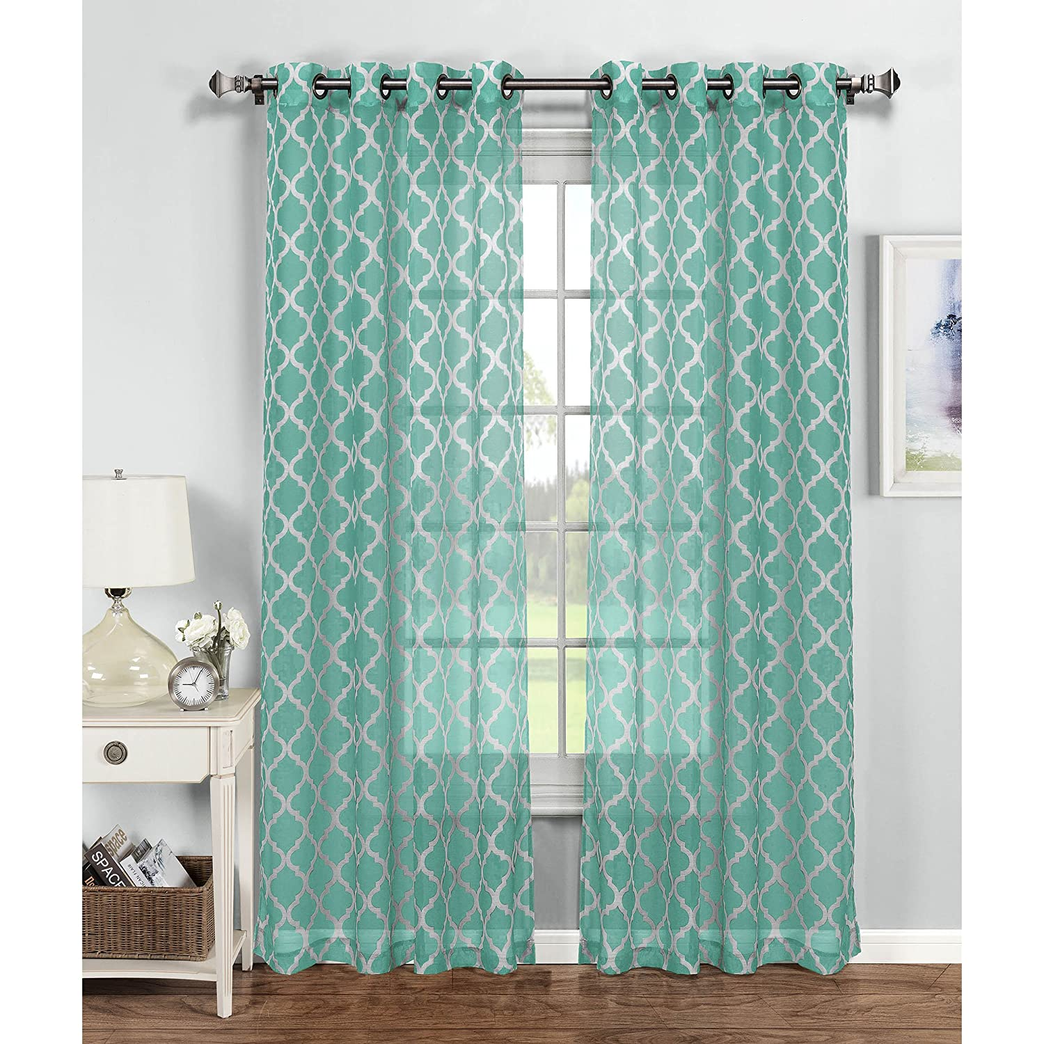 Window Elements Morocco Printed Sheer Extra Wide Grommet Curtain Panel, 54 x 84, Beige/White 54 x 84 YMF Carpets Inc. YMC004516