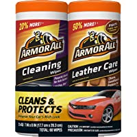 Armor All Cleaning and Leather Care Wipes, 30 Count Each (Pack of 2)