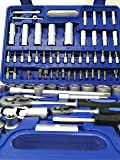 Tianfeng Tools - Valigetta con vasta gamma di 108 pezzi di chiavi bussola ed accessori, azzurro