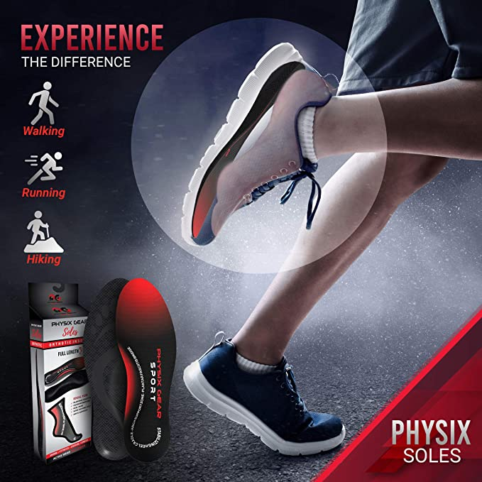 Physix Gear Full Length Orthotic Inserts with Arch Support For Men /& Women
