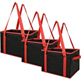 Earthwise Reusable Grocery Bags Box Deluxe Collapsible Shopping Bag EXTRA SIDE HANDLES FOR EASY LIFTING with REINFORCED BOTTOM (3 Piece Set) FOLDS FLAT FOR EASY STORAGE