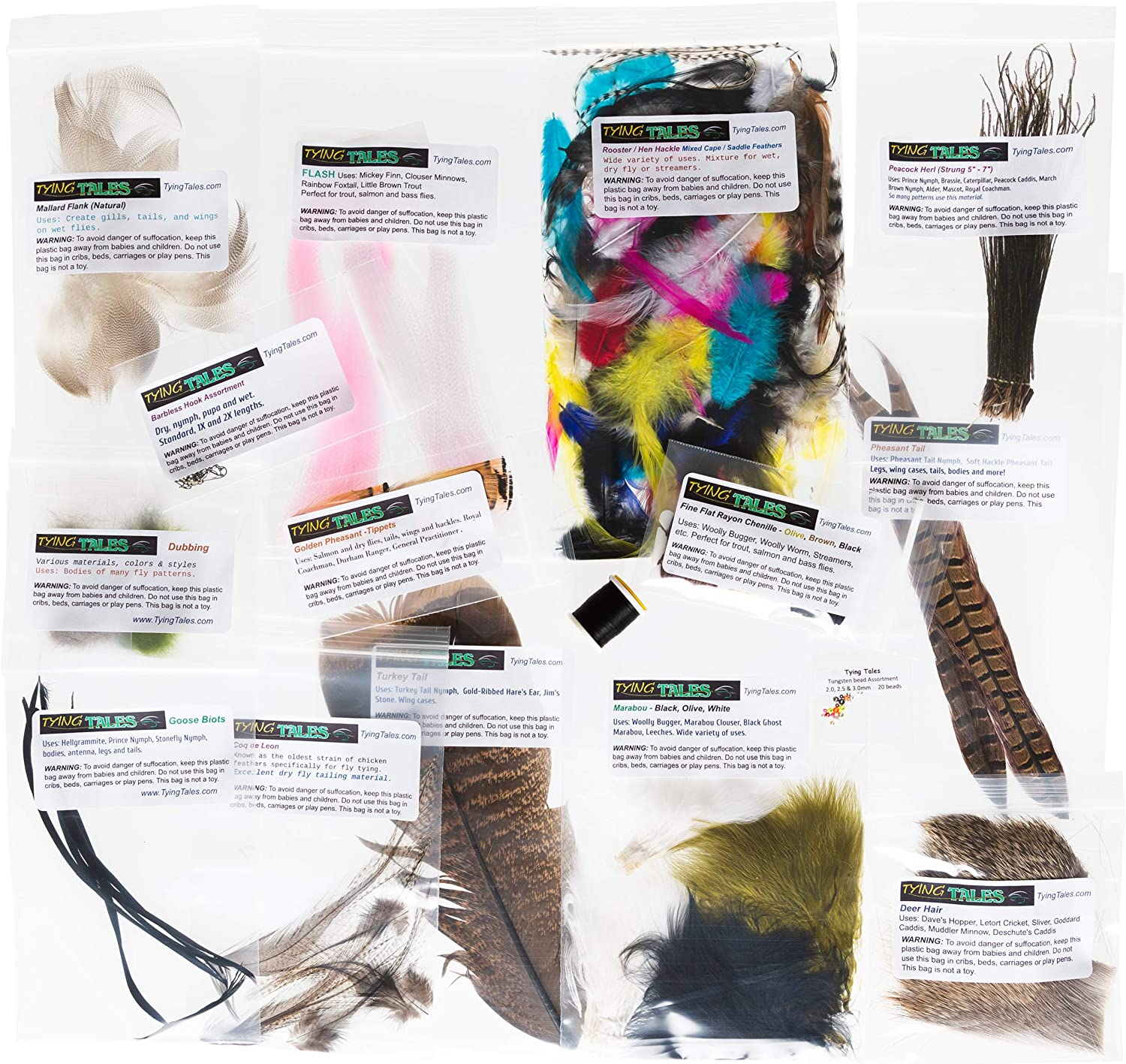 dyed and natural Deer Hair Pieces Assorted types and sizes