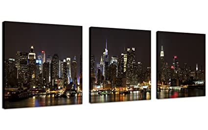 QICAI Nyc Canvas Art New York Picture Canvas Nyc Wall Art Manhattan Night  Lights New York