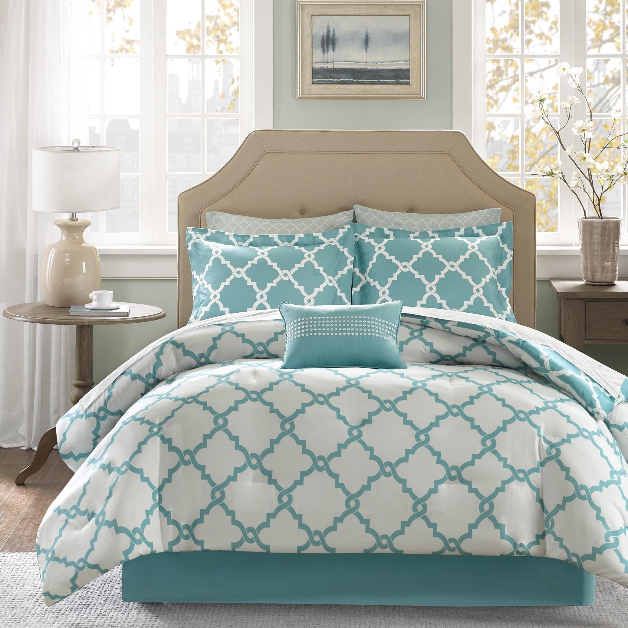 7 Piece Vibrant Meridian Pattern Twin Size Sheet Set, High End Luxury Simple Chic Geometric Patterned Style Elegant Bedding, Contemporary Rich Hotel Collection Modern Design Bedroom, Teal, White