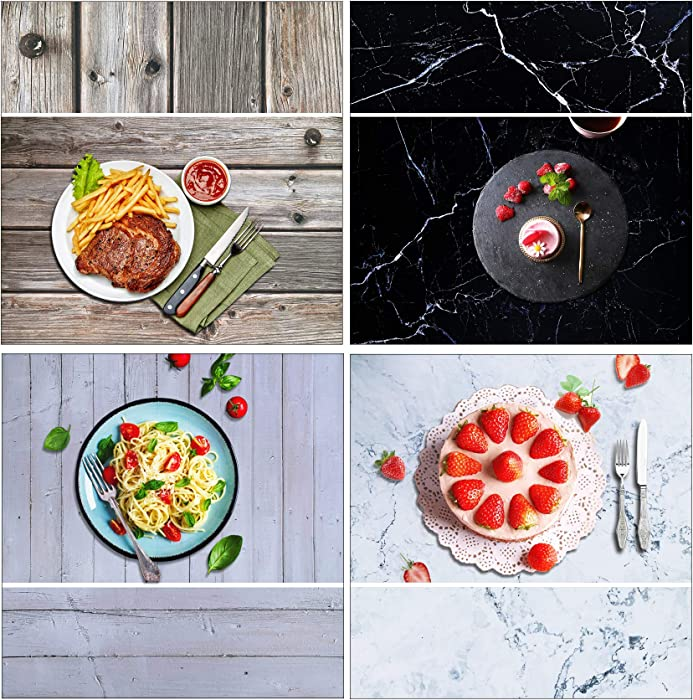 iprotech (2PCS) 34.3x22.5 Photography Background Paper, 2-in-1 Double Sided Marble/Wood Texture Pattern Flat Lay Photo Tabletop Backdrops Boards for Food Jewelry Cosmetics Makeup Small Parts Props