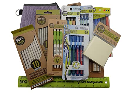 Recycled Sustainable Materials Green Eco Friendly School Office Supplies Kit - Sticky Notes Ruler Pen Pencils