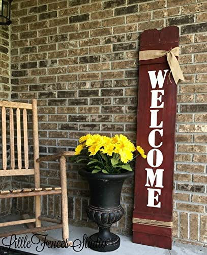 Amazoncom Large Vertical Wood Welcome Sign For Front Porch Decor