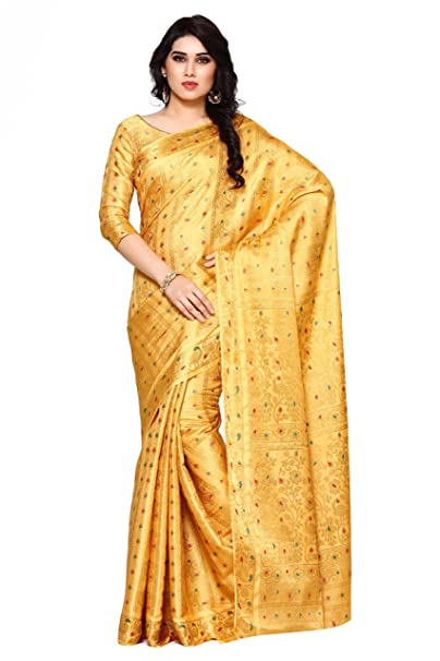 5906a8a43f Mimosa Women's Silk Saree With Blouse Piece (4106-220-Sd-Cndn_Yellow):  Amazon.in: Clothing & Accessories
