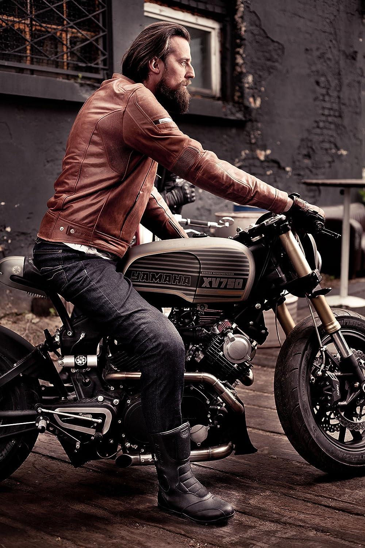 S-3XL Bel/üftet Herren Leder Motorradjacken R/ückenprotektor Vintage Retro Sommer 2018 L Braun Shima HUNTER PLUS 2018 BROWN