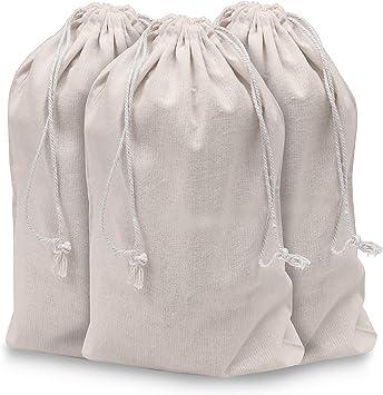 Bolsa de Muselina (Pack de 10) - 40cm x 30cm, Bolsa Ecologica Biodegradable, reutilizable - Bolsas Tela Algodón Orgánico - Bolsa con Cordel - para el Hogar y el Almacenamiento de Verduras: