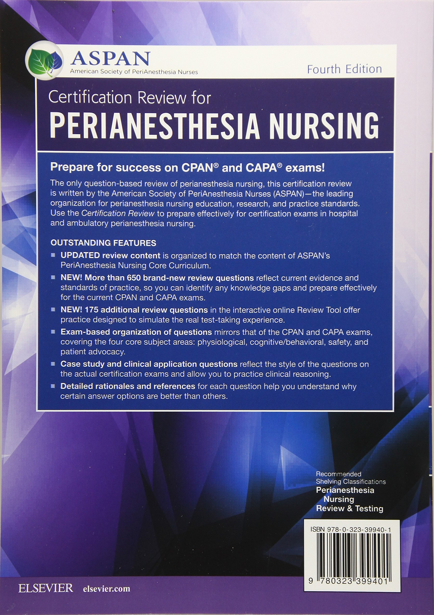 Certification Review For Perianesthesia Nursing Aspan Theresa