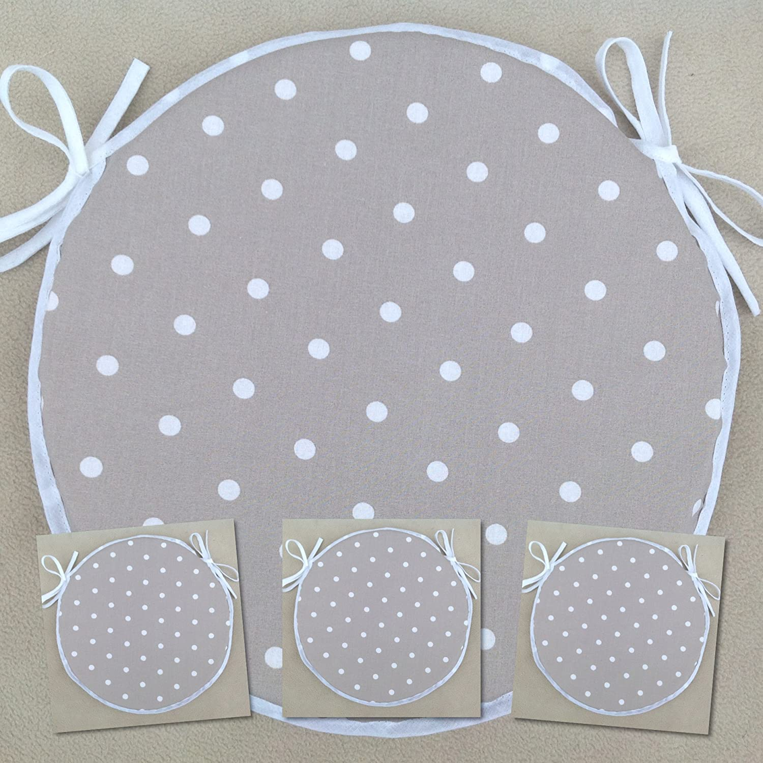 SET OF 4 TAUPE POLKA DOT PATTERN ROUND CHAIR SEAT PADS For Round Bistro Style Seats Approx.14 Across