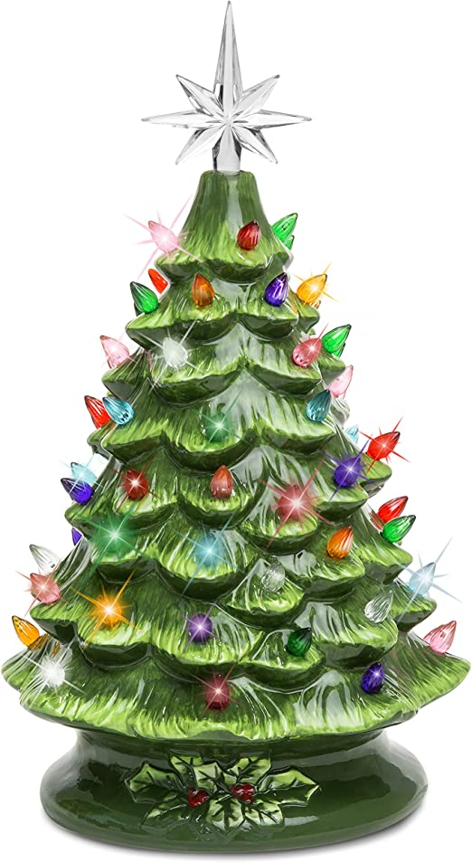 PRE-LIT TABLE CHRISTMAS TREE WITH LIGHTED BASE 18 INCHES TALL