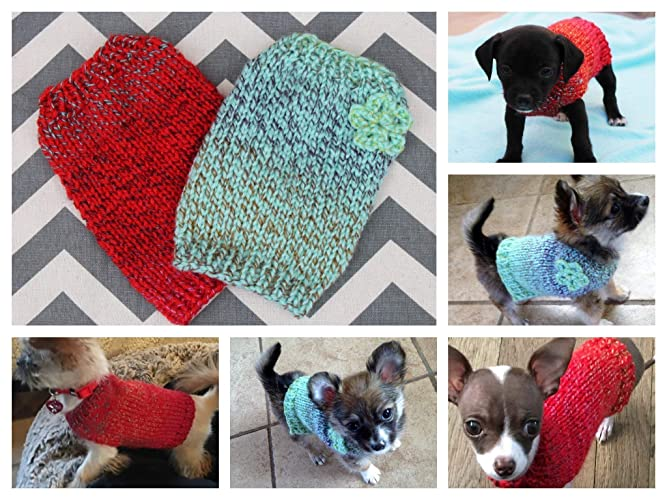 b7ace27ad55 Amazon.com  Dog Puppy Kitten Sweater Hand Knit Teeny Tiny Rustic with  Crochet Flower XXXS XXS 1 to 2 lbs for Teacup Toy Breed Puppy Newborn to 2  Pounds  ...