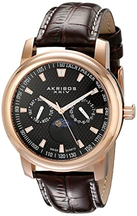 dfb582397c5 Image Unavailable. Image not available for. Color  Akribos XXIV Men s  AK573RG Ultimate Swiss Quartz Multifunction Black Dial Rose-tone Stainless  Steel Brown