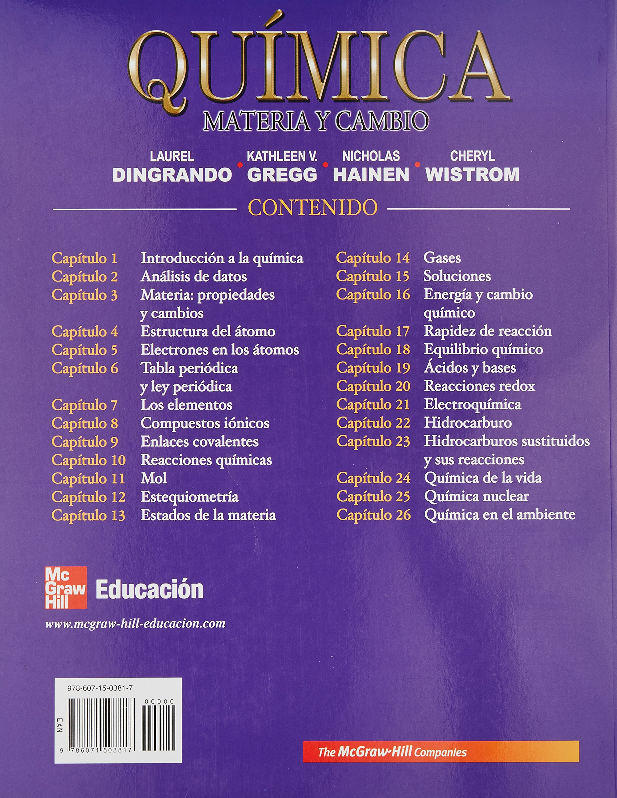 materia y cambio 1ed dingrando 2010 mcgraw hill dingrado laurel 9786071503817 amazoncom books - Tabla Periodica De Los Elementos Mc Graw Hill
