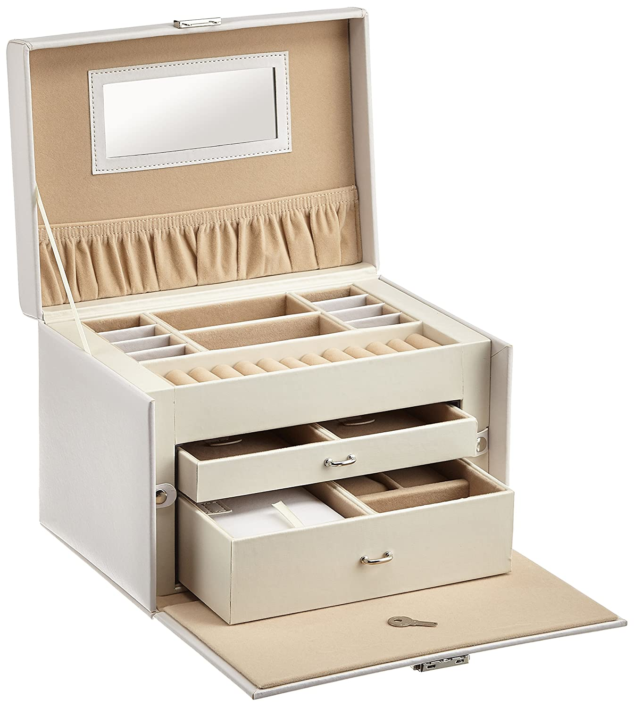 #Levivo Schmuckkasten für Uhren, Ringe und Ketten – mit vielen Fächern, Schubladen und Extra-Kästchen#