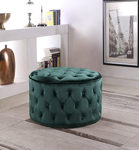 Iconic Home Batya Ottoman Button Tufted Velvet Upholstered Round Pouf Modern Contemporary, Green