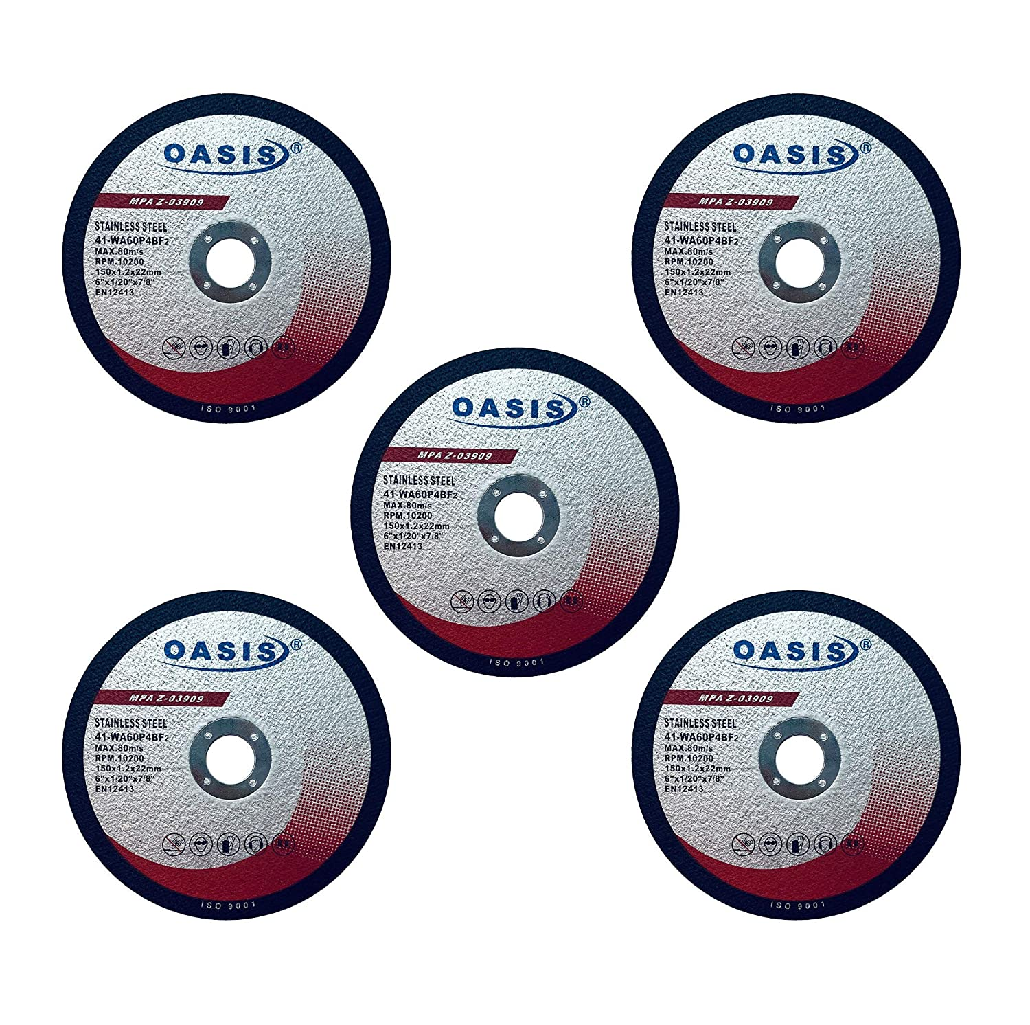 5 Pack OASIS 6 inch Cutoff Wheels 6 x .045 x 7//8 for Metal /& Stainless Steel