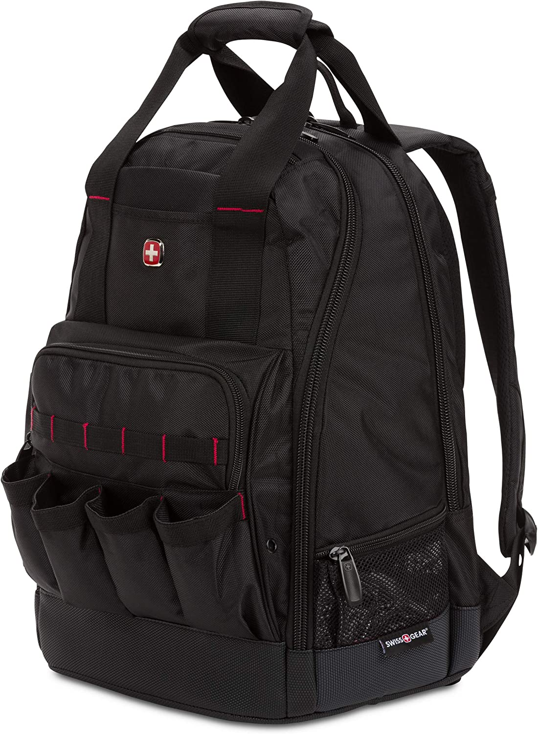 SWISSGEAR 2767 Tool Bag Large Durable Work Pack Backpack With Padded Laptop Compartment | Tool Storage, Part Organization, Wet/Dry Pocket - Black
