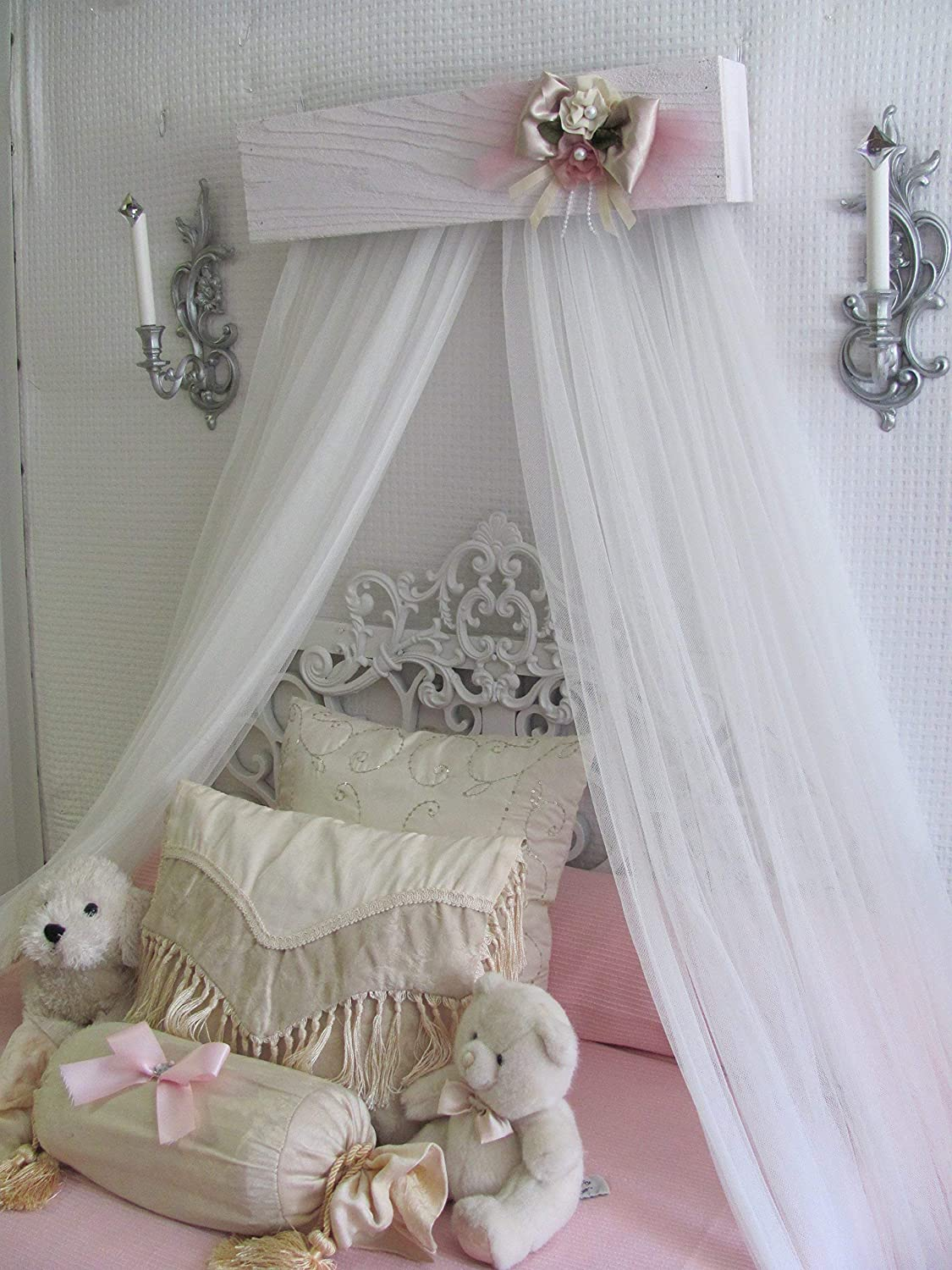 Princess Bed Crown Canopy Crib Baby Nursery Decor Shabby Chic Princess Girls Bedroom Free White Curtains Vintage Inspired Chalk Paint So Zoey Boutique Sale Handmade Products Home Kitchen