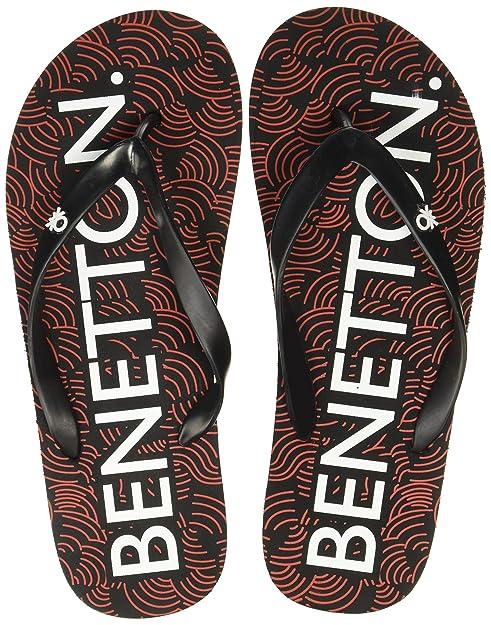 3ad2d43ed United Colors of Benetton Men s 18P8CFFPM041I Black Flip-Flops-10 UK India (