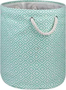 DII Geo Diamond Woven Paper Laundry Hamper or Storage Bin, Large Round, Aqua