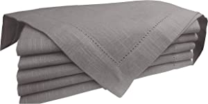 Light & Pro Cloth Napkins 6Pack 100% Slub Cotton in Hemstitched, Cocktail Napkins, Dinner Napkin, Easter Napkins, Napkins, Beverage Napkins, Machine Washable, Everyday use-18x18 Inch Grey Charcoal