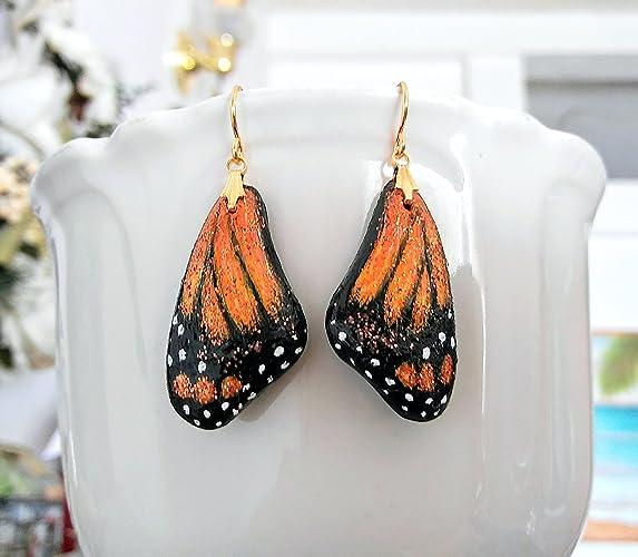 248fe88fd Monarch Butterfly Wing Earrings Handmade, Painted, OOAK GP Wires New  Polymer Clay Orange Earrings Migration Symbol representing endurance,  change, hope, ...