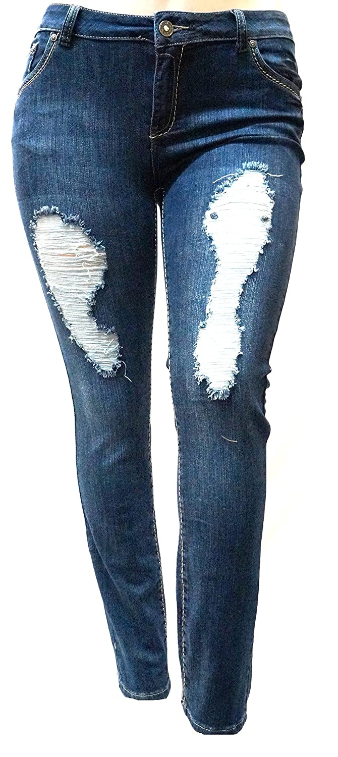 SLS WOMENS PLUS SIZE Stretch Distressed Ripped BLUE SKINNY DENIM JEANS PANTS