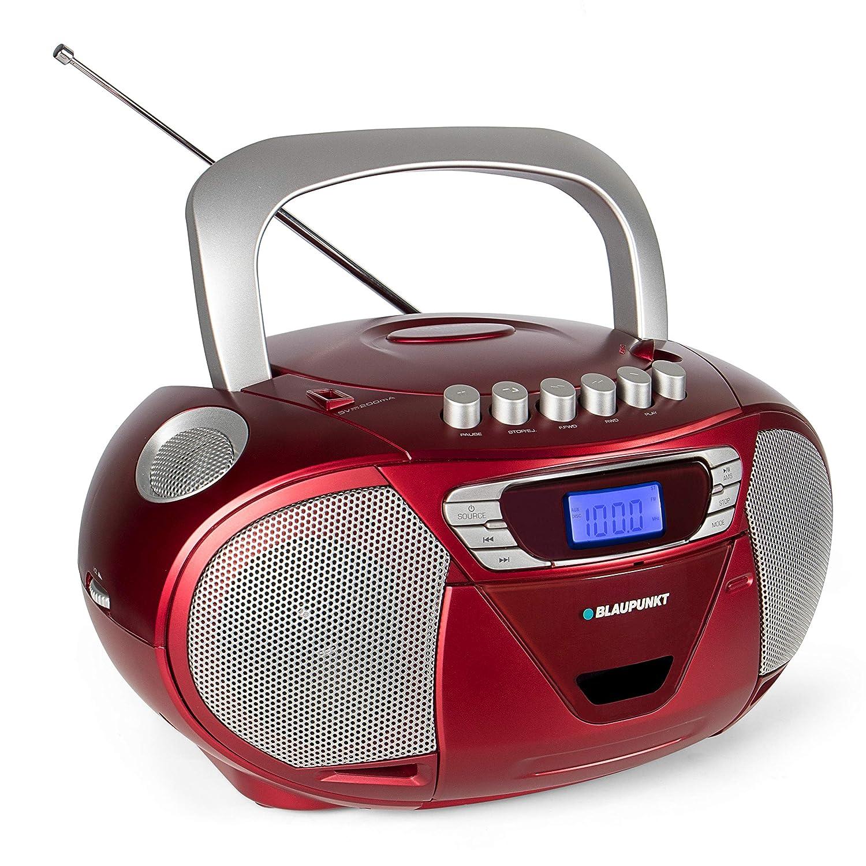 Blaupunkt Boombox B 110 PLL, Kinder CD Player, Hö rbuch Funktion und USB mit Kassettenplayer, tragbares CD-Radio, Aux In, Kopfhö reranschluss, PLL UKW Tuner (Rot)