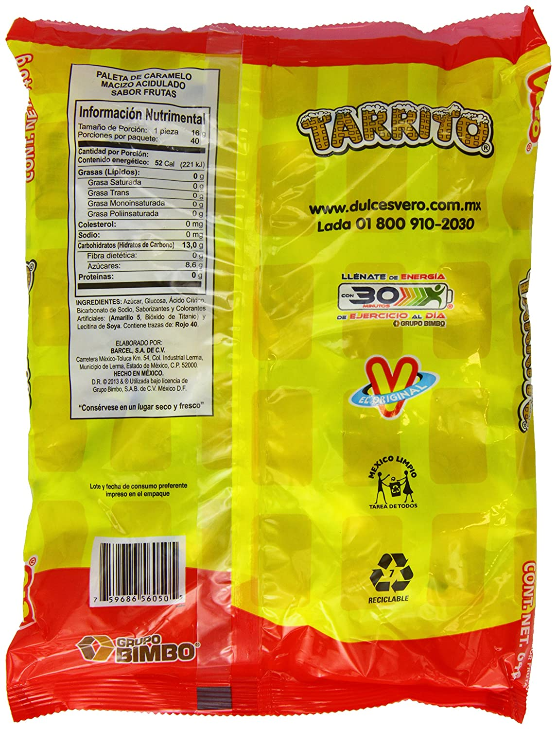 Amazon.com : Vero Mexican Candy Tarrito Fruit Flavored Lollipops - 40 Pieces : Suckers And Lollipops : Grocery & Gourmet Food