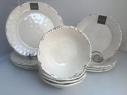 12-Piece Il Mulino Antiqued Almond Melamine Dinner Plates Accent Plates u0026 All Purpose & Amazon.com | 12-Piece Il Mulino Antiqued Almond Melamine Dinner ...