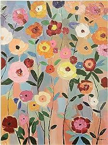 Hand-Painted Garden Flower Wall Art Blue Orange Pink Mid-Century Modern Rectangle
