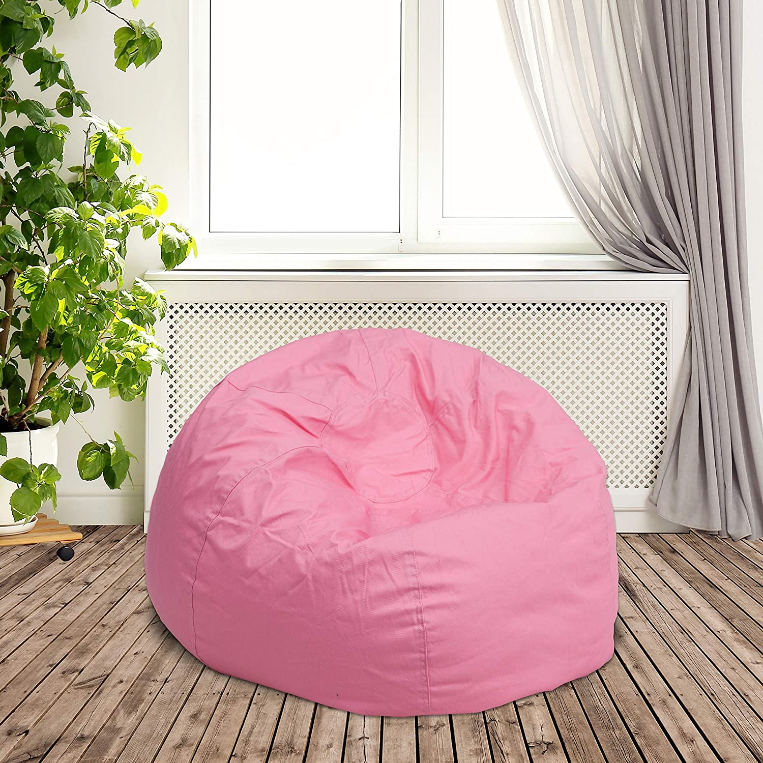 DG-BEAN-SMALL-SOLID-PK-GG Flash Furniture Small Solid Light Pink Kids Bean Bag Chair Renewed