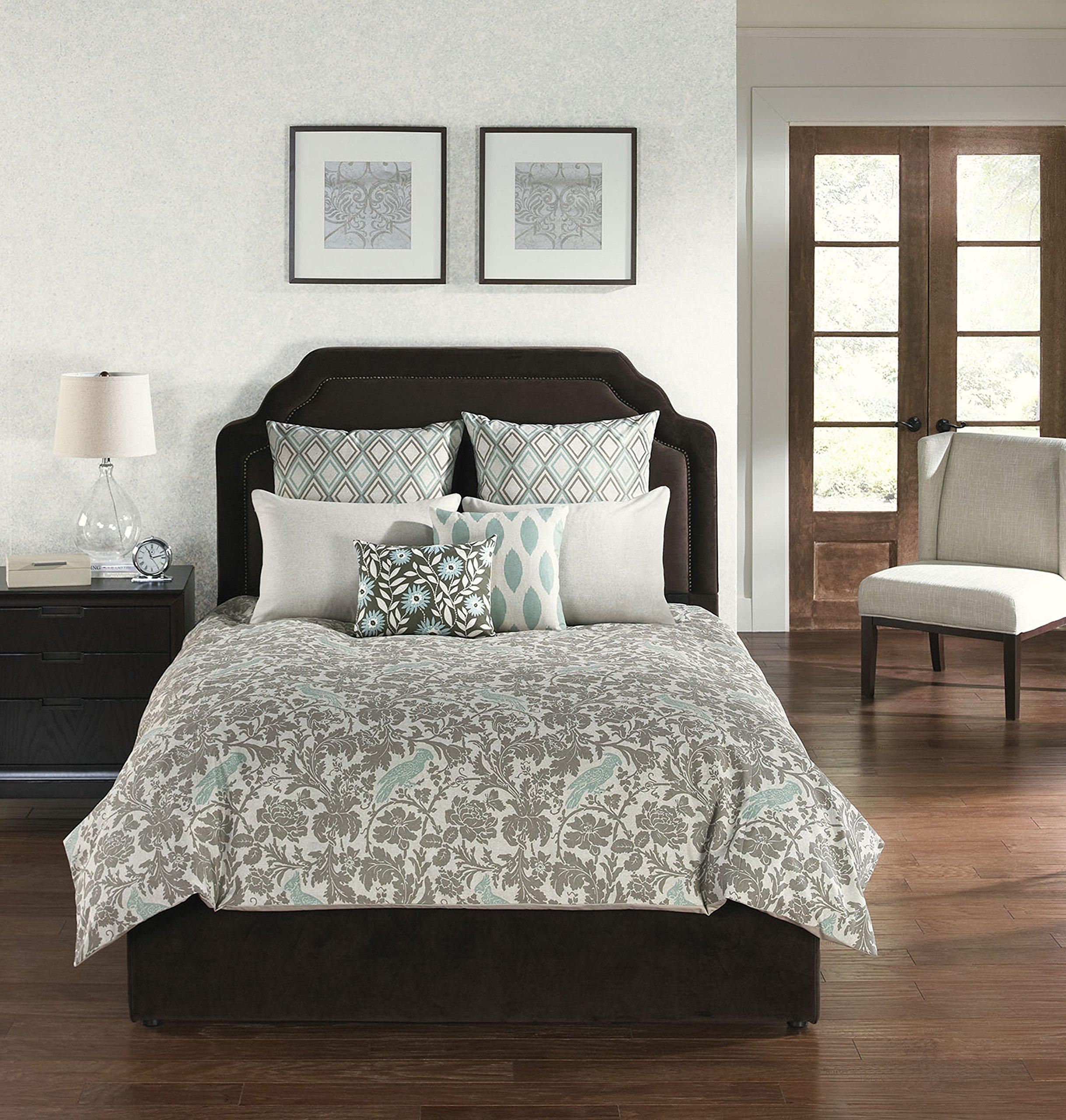 angelo:HOME USA 67218 6-Piece Square Camden Park Comforter with Filler Set, Queen, Blue/Gray