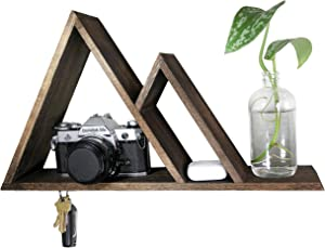 cSc Bundok Life Mountain Shelf - Magnetic Key Holder for Wall with Shelf & Dog Leash Holder | Entry Way Home Decor Floating Shelves for Geometric Decor Woodland Nursery Decor