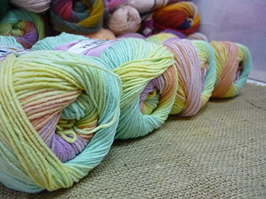 Amazon.com: 55% Cotton 45% Acrylic Yarn Alize Cotton Gold Batik Thread Crochet Hand Knitting Yarn Arts Crafts Lot of 4skn 400 gr 1444 yds Color Gradient ...